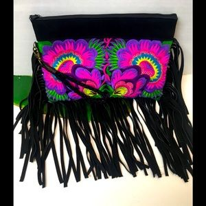 RARE Wabags Embroidered Fringe Clutch Bag